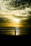 Siluet dan sunset di pantai Lhoknga Aceh